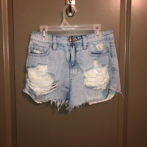 cello light wash ripped jeans shorts